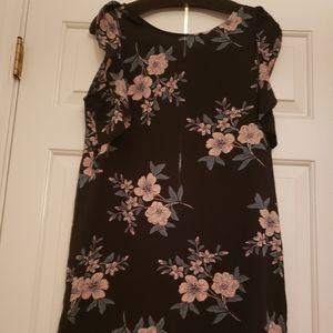 Forever 21 Black Floral Shift Dress Size S